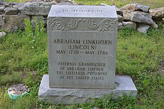 Abraham Lincoln (captain) - Modern grave marker at the traditional site of Lincoln's cabin