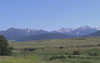 Absaroka Range - Absaroka range as seen from west of Livingston, Montana