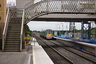 Adamstown railway station (Ireland) - An ICR class passing Hazelhatch and Celbridge station as it approaches Adamstown.