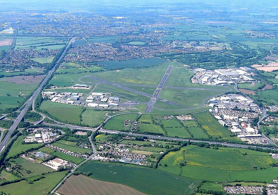 Aerial of Gloucestershire Airport, Gloucestershire, England 24May2017 arp
