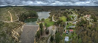 Goldfields region of Victoria - Aerial perspective of St Georges Lake in Creswick. Shot in September 2018.