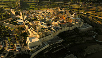 Mdina - Aerial view of Mdina and its fortifications