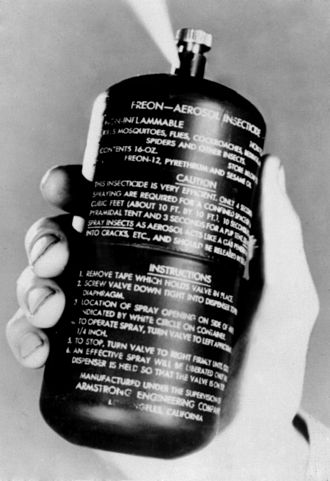 Aerosol spray - The aerosol (A gaseous suspension of fine solid or liquid particles) spray canister invented by USDA researchers, Lyle Goodhue and William Sullivan.