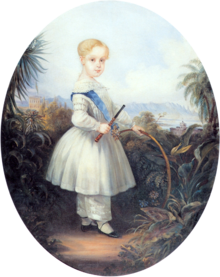 full-length oil portrait of the Prince Imperial as a blond-haired child in a white short frock and official blue sash worn over white pantaloons and holding a stick and hoop