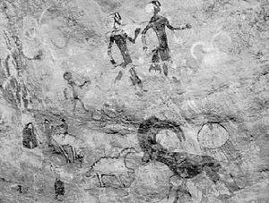 English: Neolithic cave paintings found in Tas...