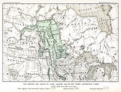 An early map of the extent of Lake Agassiz in central North America, by 19th century geologist Warren Upham. The regions covered by the lake were significantly larger than shown here.