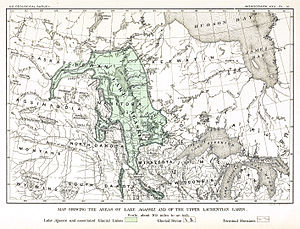 Glacial history of Minnesota - An early map of the extent of Lake Agassiz (by 19th century geologist Warren Upham). This map is now believed to underestimate the extent of the region once overlain by Lake Agassiz.