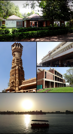 Clockwise from topː Gandhi Smarak Samgrahalay at Sabarmati Ashram, Ahmedabad Railway Station, CEPT University , Kankaria Lake and the Kirti Stambh at Hutheesing Temple