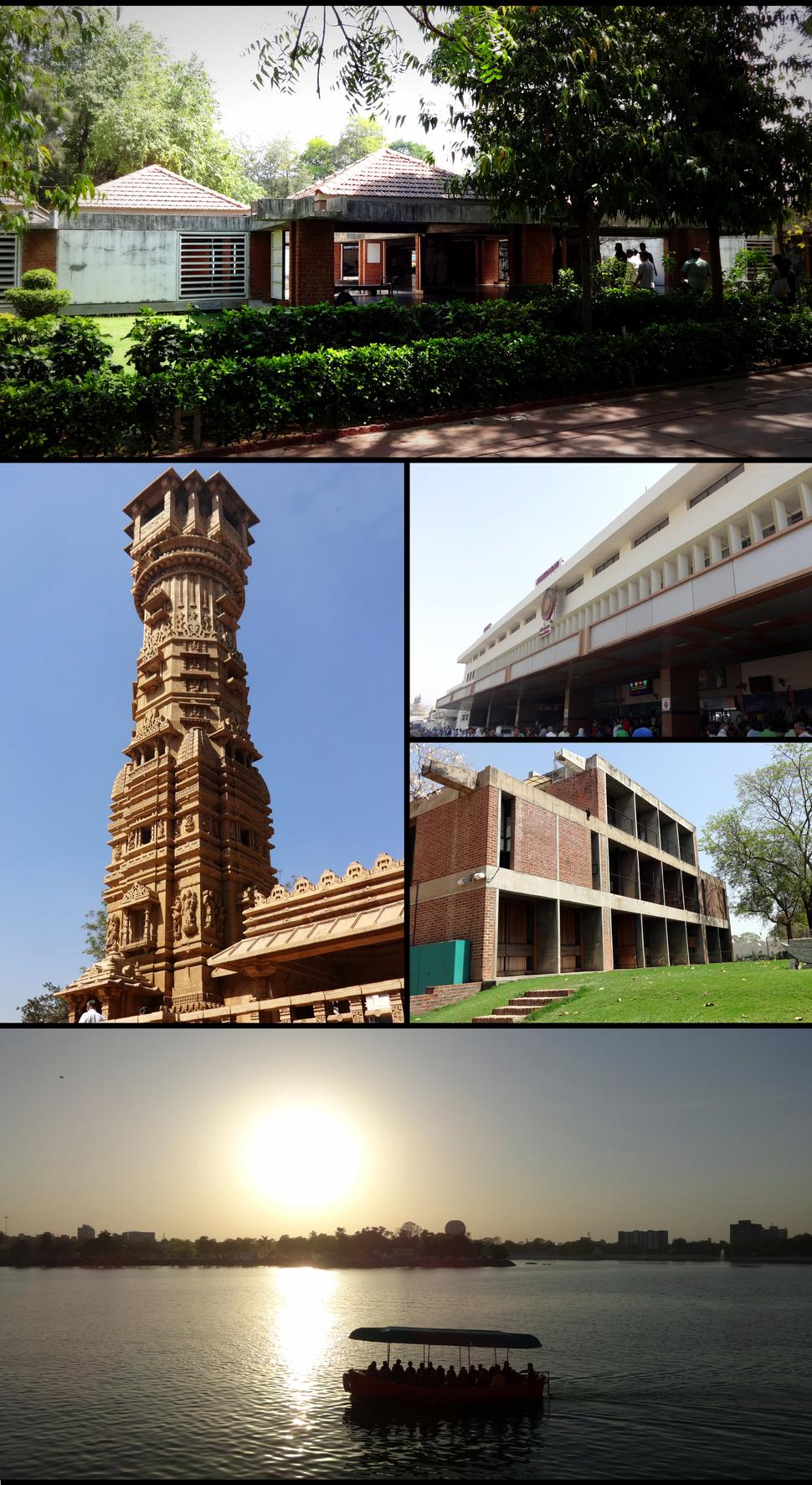 Clockwise from topː Gandhi Smarak Sangrahalay at Sabarmati Ashram, Ahmadabad Railway Station, CEPT University, Kankaria Lake and the Kirti Stambh at Hutheesing Temple