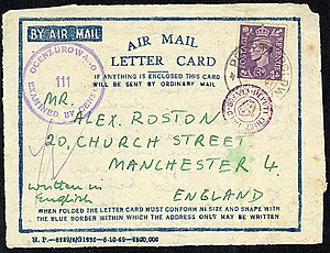 English: Air Mail Letter Card from 1942 mailed...