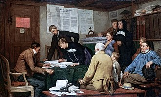 Civil marriage - A civil marriage in 19th century Switzerland (Albert Anker, 1887)
