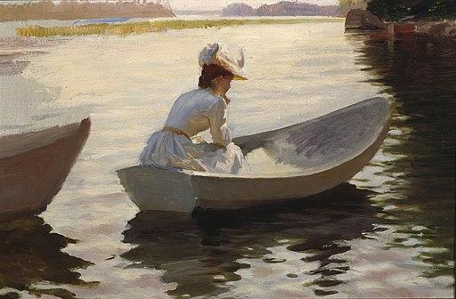Albert Edelfelt - Nainen veneessä, harjoitelma teokseen Tyttöjä veneessä - A III 1964 - Finnish National Gallery