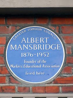 Albert mansbridge blue plaque