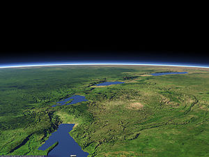 East African Rift - An artificial rendering of the Albertine Rift, which forms the western branch of the East African Rift. Visible features include (from background to foreground): Lake Albert, the Rwenzori Mountains, Lake Edward, the volcanic Virunga Mountains, Lake Kivu, and the northern part of Lake Tanganyika