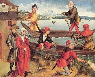 Hand net - Albrecht Dürer. Fishermen with hand nets, c 1490-1493