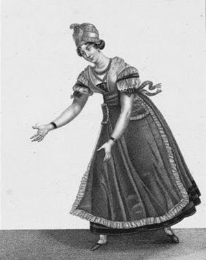 Amélie-Julie Candeille - Amélie-Julie Candeille acting in Catherine ou la Belle fermière on the stage of the Théâtre-Français in 1792.