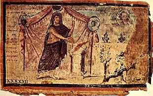 Achille offre un sacrificio a Zeus, dall'Iliade Ambrosiana, manoscritto del III-IV secolo d.C. Milano, Biblioteca Ambrosiana.