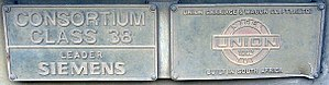 South African Class E38 - Builders' plates on no. E38-003