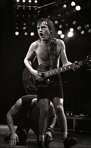 Angus Young - Young live with AC/DC in 1982 at the Manchester Apollo