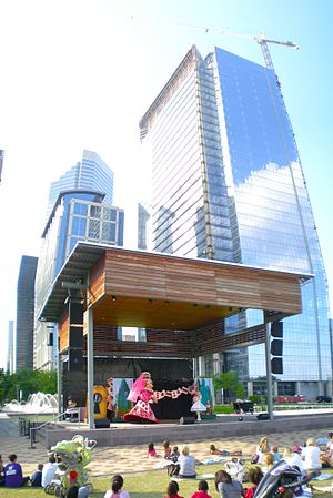 Discovery Green - Anheuser-Busch Stage with an overlooking Hess Tower