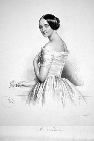 Anna Zerr - Lithograph of Anna Zerr (1847) by Josef Kriehuber