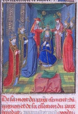 Papal coronation - Consecration of Antipope Benedict XIII at Avignon, September 28, 1394