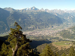 A view of Aosta from the mountains