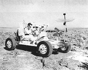 Pahute Mesa - Apollo 16 astronauts train in the Lunar rover by driving over a near-lunar landscape at the Schooner crater site in Area 20