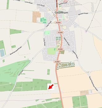 Norfolk headless body - Approximate position of Brake Hill Farm, near Swaffham (arrowed)