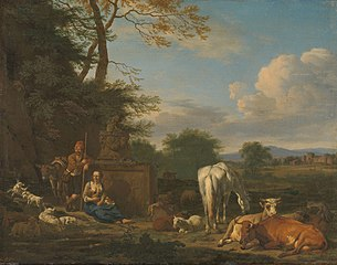 Arcadian landscape with resting herdsmen and cattle