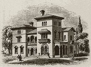 Edward King House - Engraving of Upjohn's design from Andrew J. Downing's The Architecture of County Houses.