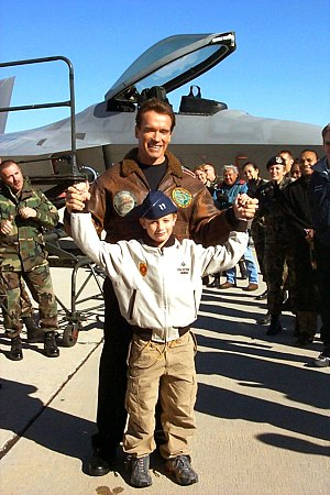 Political career of Arnold Schwarzenegger - Schwarzenegger and son Patrick at Edwards Air Force Base, California in December 2002