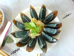 Arranged century egg on a plate.jpg