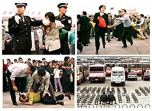 610 Office - Falun Gong practitioners being arrested in Tiananmen Square following the ban. The 610 Office implemented punitive fines on local officials to prevent Falun Gong protests on the square.