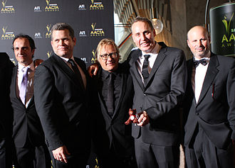 Red Dog (film) - Left to right: Arthur Angel, John Batchelor, Kriv Stenders, Nelson Woss and Daniel Taplitz at 1st AACTA Awards 2012