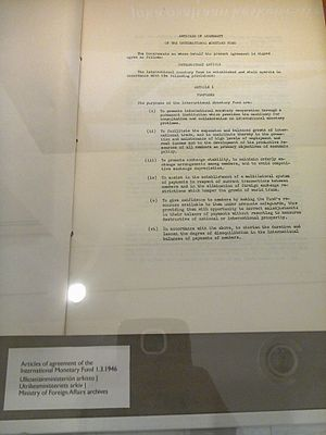 International Monetary Fund - First page of the Articles of Agreement of the International Monetary Fund, 1 March 1946. Finnish Ministry of Foreign Affairs archives