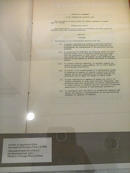 First page of the Articles of Agreement of the International Monetary Fund, 1 March 1946. Finnish Ministry of Foreign Affairs archives Articles of Agreement of the International Monetary Fund.jpg