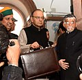 Arun Jaitley along with the Minister of State for Finance and Corporate Affairs, Shri Arjun Ram Meghwal and the Minister of State for Finance.jpg