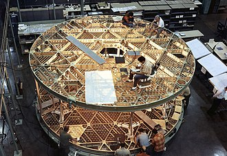 Skylab - The floor grating of Skylab under construction