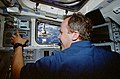 Astronaut Tom Jones uses the RMS to manipulate the Wake Shield Facility on STS-80 (STS080-337-026).jpg