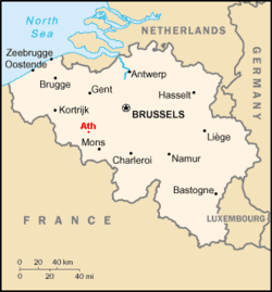Location of Ath in Belgium