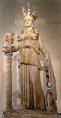 Athena Varvakeion, patung dari masa Romawi paruh pertama abad ke-3 Masehi. Patung ini adalah replika dari arca berukuran raksasa Athena Parthenos karya Phidias yang pernah berdiri di Parthenon, Akropolis Athena. Ditemukan di Athena dekat sekolah Varvakeion.