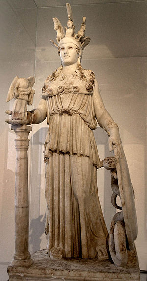 Athens - Athena, patron goddess of Athens; (Varvakeion Athena, National Archaeological Museum)