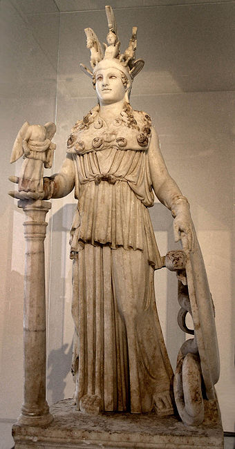 Athena, patron goddess of Athens; (Varvakeion Athena, National Archaeological Museum) Athena Varvakeion - MANA - Fidias.jpg
