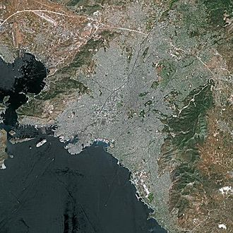 SPOT (satellite) - Athens as seen by the SPOT 5 satellite in 2002