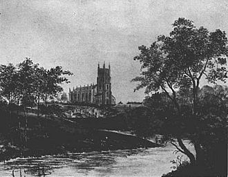 "Attercliffe - Christ Church from across the River Don in 1826. The ""cliff"" can be seen in front of the church."