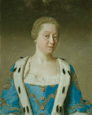 Princess Augusta of Saxe-Gotha - Augusta as Dowager Princess of Wales, mother of the future king, by Liotard, 1754.