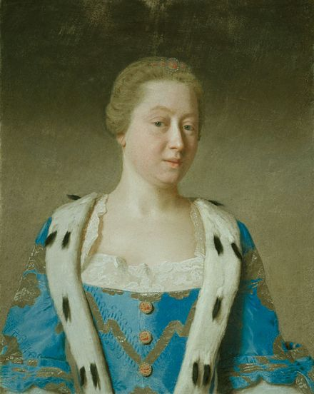 Augusta as Dowager Princess of Wales, mother of the future king, by Liotard, 1754. Augusta, Princess of Wales 1754 by Liotard.jpg