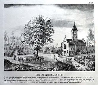 Aureus of Mainz - Lithograph of the ruins of the Aureuskapelle by Jean Dionis Bernard Wasserburg (1813–1885), brother of Philipp Wasserburg
