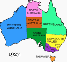 location of central australia shown on this map of australia as it was from 1927 to 1931
